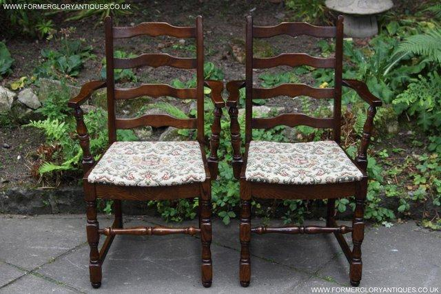 Image 4 of SIX OAK LADDER BACK OLD CHARM STYLE DINING CHAIRS ARMCHAIRS