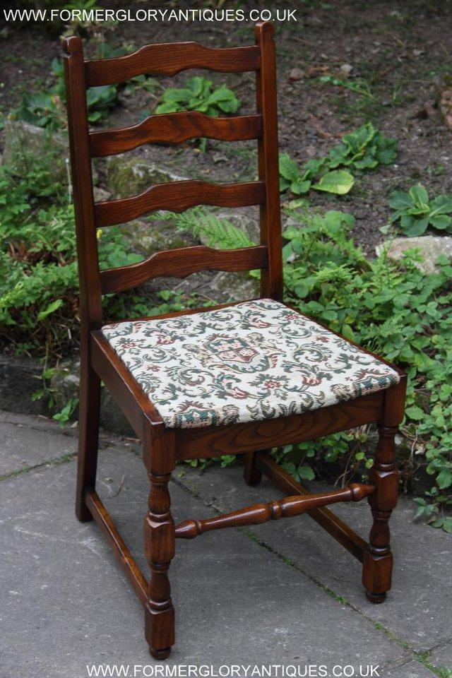Image 5 of SIX OAK LADDER BACK OLD CHARM STYLE DINING CHAIRS ARMCHAIRS