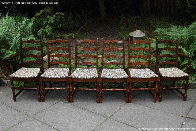 Preview of the first image of SIX OAK LADDER BACK OLD CHARM STYLE DINING CHAIRS ARMCHAIRS.