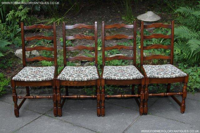 Image 6 of SIX OAK LADDER BACK OLD CHARM STYLE DINING CHAIRS ARMCHAIRS
