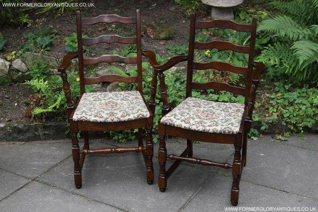 Image 9 of SIX OAK LADDER BACK OLD CHARM STYLE DINING CHAIRS ARMCHAIRS