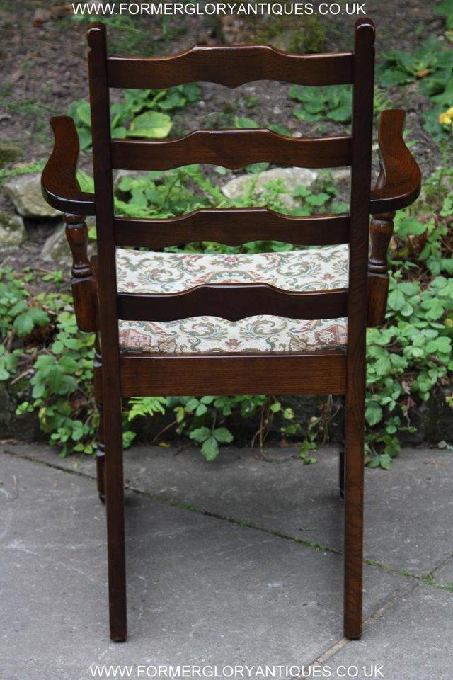 Image 10 of SIX OAK LADDER BACK OLD CHARM STYLE DINING CHAIRS ARMCHAIRS