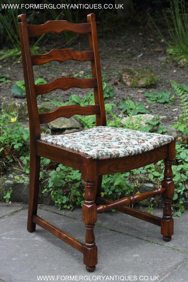 Image 12 of SIX OAK LADDER BACK OLD CHARM STYLE DINING CHAIRS ARMCHAIRS