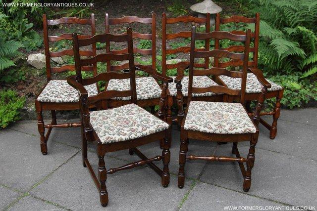Image 13 of SIX OAK LADDER BACK OLD CHARM STYLE DINING CHAIRS ARMCHAIRS