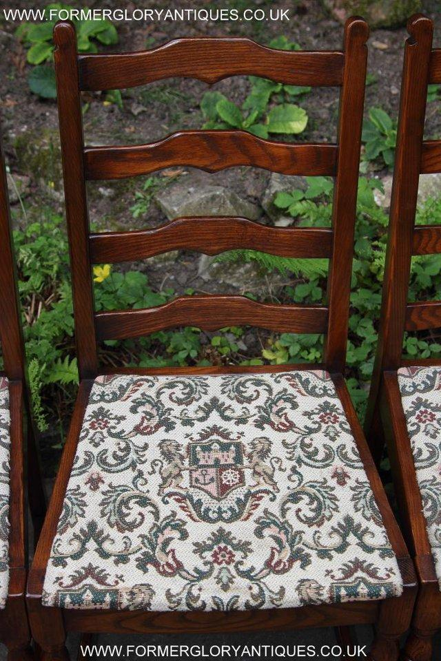 Image 15 of SIX OAK LADDER BACK OLD CHARM STYLE DINING CHAIRS ARMCHAIRS