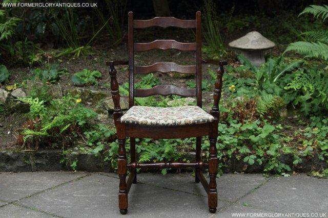 Image 18 of SIX OAK LADDER BACK OLD CHARM STYLE DINING CHAIRS ARMCHAIRS