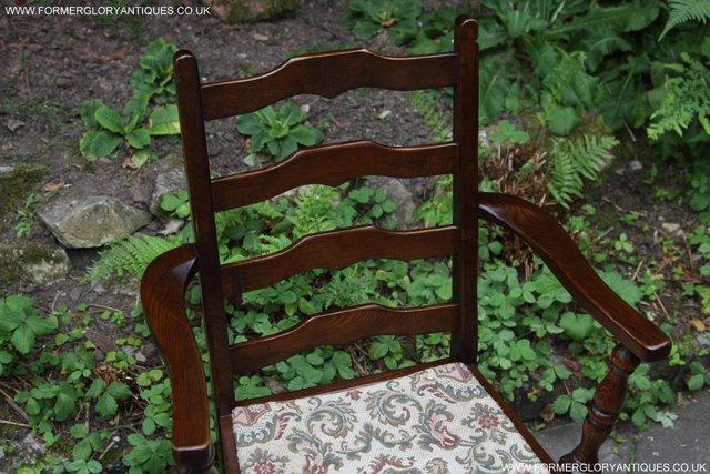 Image 21 of SIX OAK LADDER BACK OLD CHARM STYLE DINING CHAIRS ARMCHAIRS