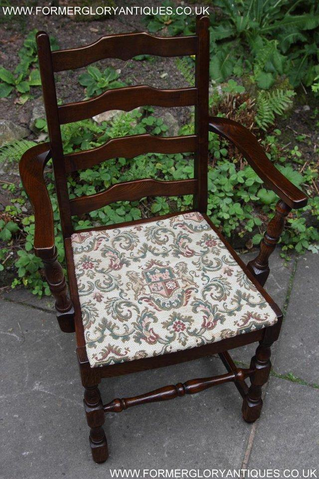 Image 23 of SIX OAK LADDER BACK OLD CHARM STYLE DINING CHAIRS ARMCHAIRS