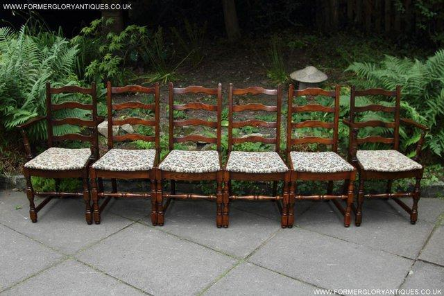 Image 26 of SIX OAK LADDER BACK OLD CHARM STYLE DINING CHAIRS ARMCHAIRS