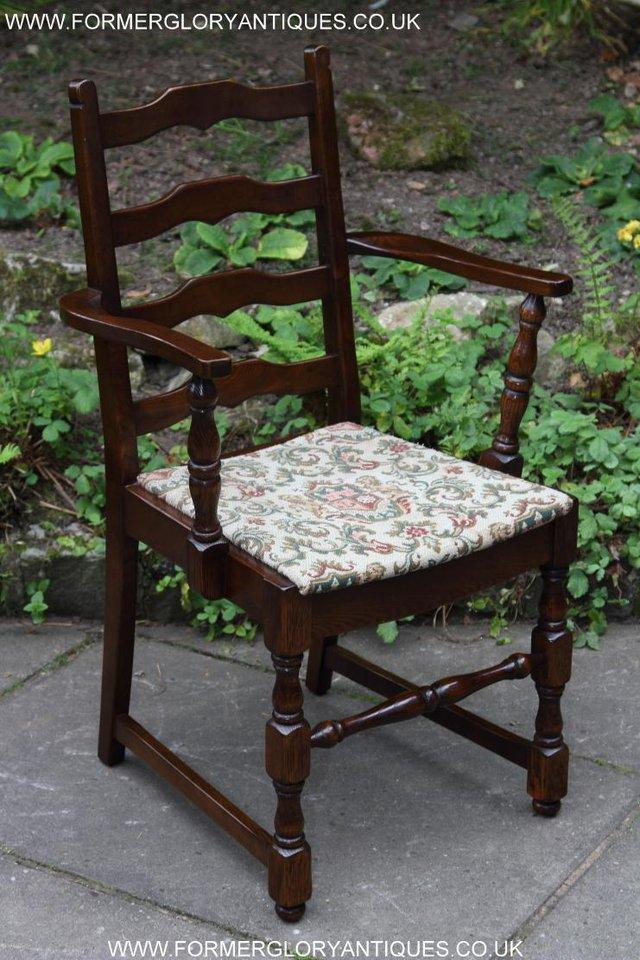 Image 30 of SIX OAK LADDER BACK OLD CHARM STYLE DINING CHAIRS ARMCHAIRS