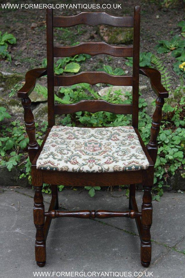Image 32 of SIX OAK LADDER BACK OLD CHARM STYLE DINING CHAIRS ARMCHAIRS