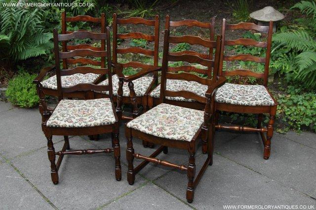 Image 33 of SIX OAK LADDER BACK OLD CHARM STYLE DINING CHAIRS ARMCHAIRS