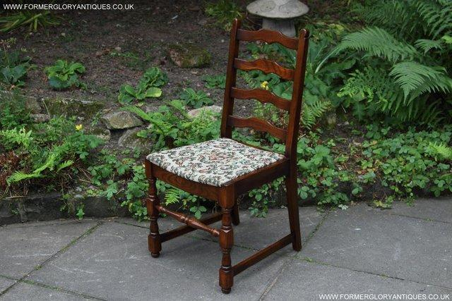 Image 40 of SIX OAK LADDER BACK OLD CHARM STYLE DINING CHAIRS ARMCHAIRS