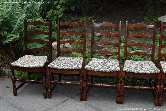 Image 41 of SIX OAK LADDER BACK OLD CHARM STYLE DINING CHAIRS ARMCHAIRS