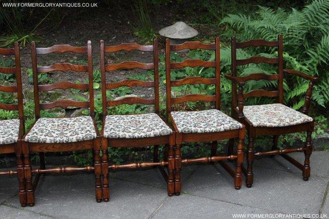 Image 44 of SIX OAK LADDER BACK OLD CHARM STYLE DINING CHAIRS ARMCHAIRS