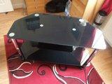 Black glass & chrome tv table