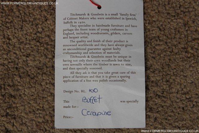 Image 54 of TITCHMARSH GOODWIN OAK SIDEBOARD DRESSER CABINET CUPBOARD