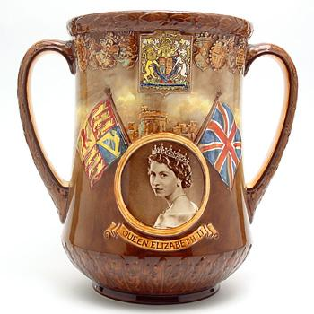 Preview of the first image of Queen Elizabeth II Coronation - Royal Doulton Loving Cup.