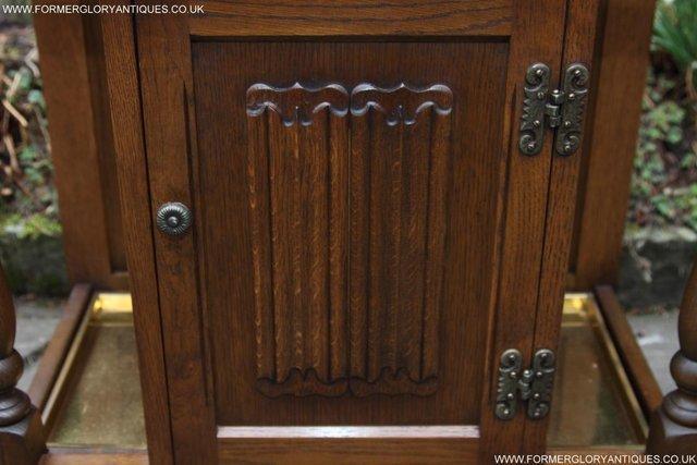 Image 21 of OLD CHARM OAK HALL HAT STICK COAT UMBRELLA STAND CABINET