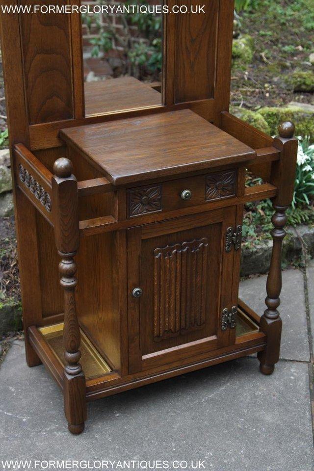 Image 28 of OLD CHARM OAK HALL HAT STICK COAT UMBRELLA STAND CABINET