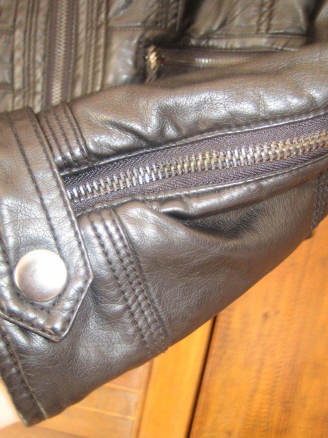 Preview of the first image of Zara Leather Black Biker Jacket.