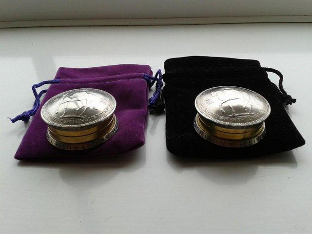 Preview of the first image of A Screw Top Lid Pill Box Made From UK Crown Coins.
