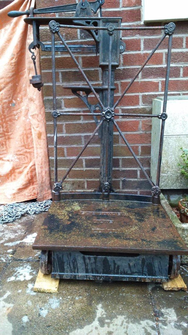 Image 3 of vintage weigh trolley.for plant stand.ornate,for shop.bar