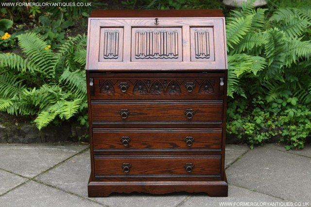 A VERY ATTRACTIVE  LATE 20th CENTURY  ORIGINAL  WOOD BROTHERS   CARVED OAK  BUREAU   WRITING DESK  OF EXCEPTIONAL QUALITY AND CONDITION. old charm   Second Hand Household Furniture  Buy and Sell in the