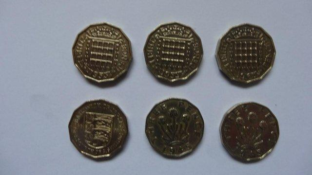 Image 2 of British Three Penny Pieces.