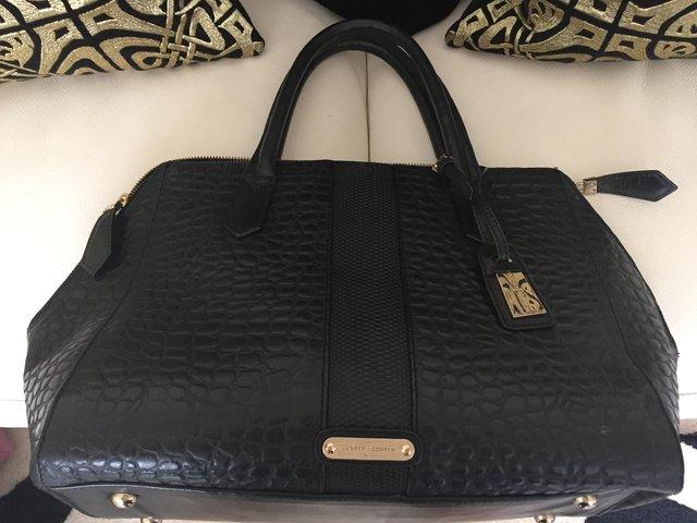 Large Jasper Conran large black ladies tote style handbag with crocodile  effect finish on the leather. Two handles and two zip fastening. 81b78546fd75c