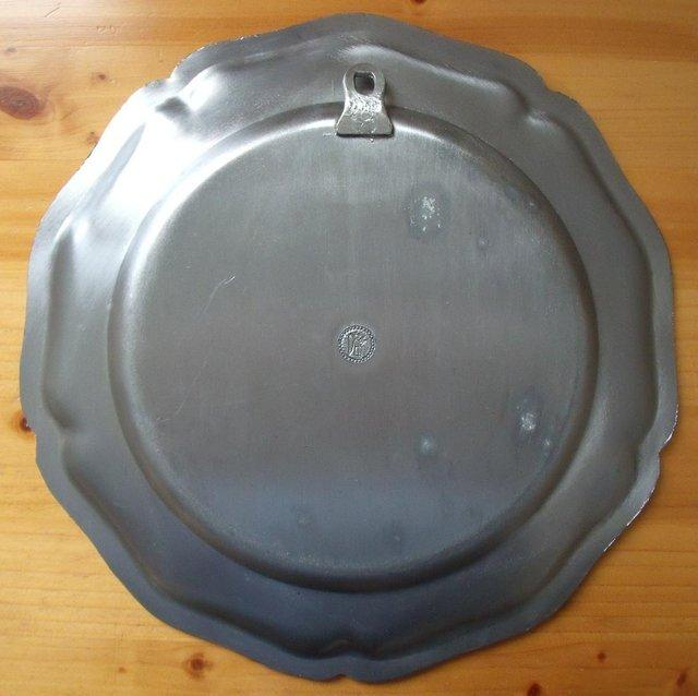 Image 3 of Heavy German (believed to be) pewter hanging/wall plate.