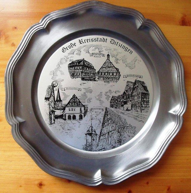 Preview of the first image of Heavy German (believed to be) pewter hanging/wall plate..