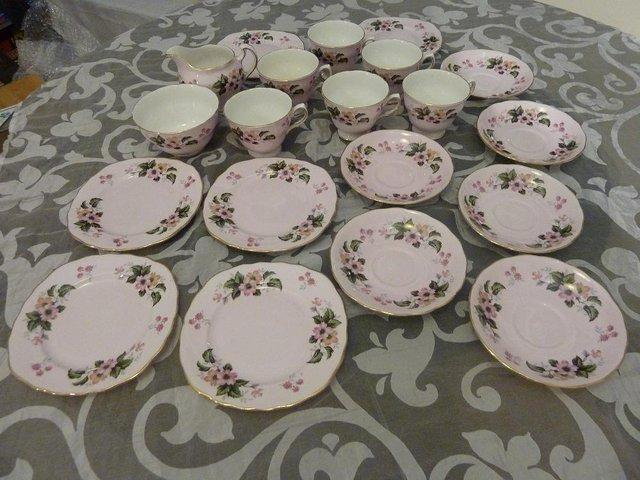 Preview of the first image of Colclough/Ridgway tea service (1950's/1960's) - wild rose.