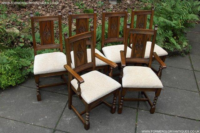 Image 4 of SIX OLD CHARM JAYCEE LIGHT OAK KITCHEN TABLE DINING CHAIRS
