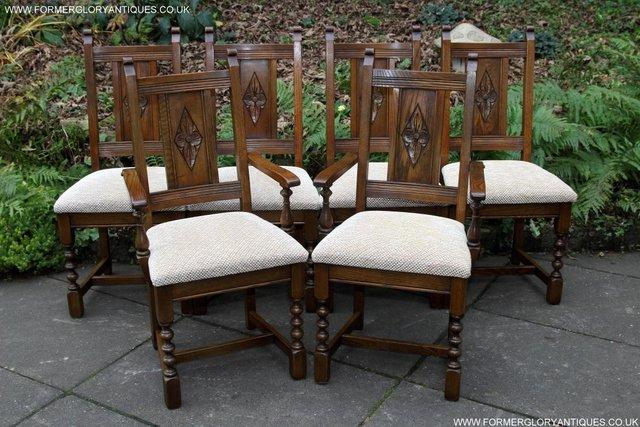 Image 14 of SIX OLD CHARM JAYCEE LIGHT OAK KITCHEN TABLE DINING CHAIRS