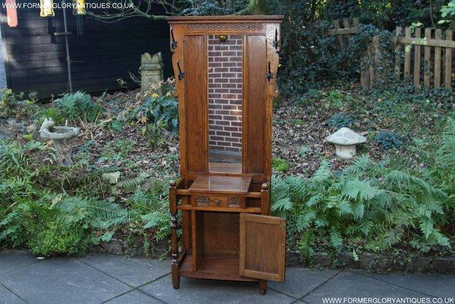 Image 2 of AN OLD CHARM JAYCEE LIGHT OAK HALL COAT STICK STAND CABINET
