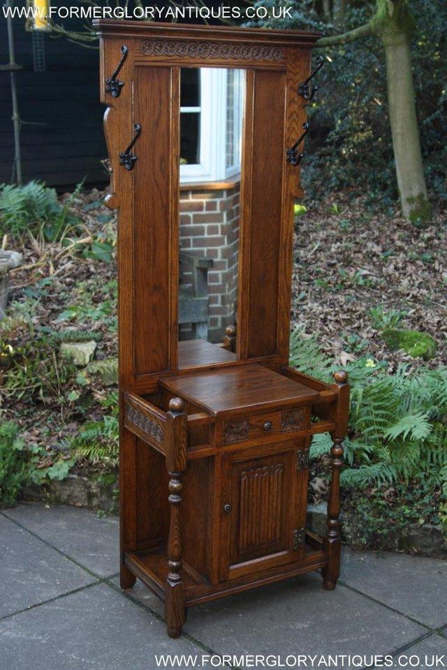 Image 3 of AN OLD CHARM JAYCEE LIGHT OAK HALL COAT STICK STAND CABINET