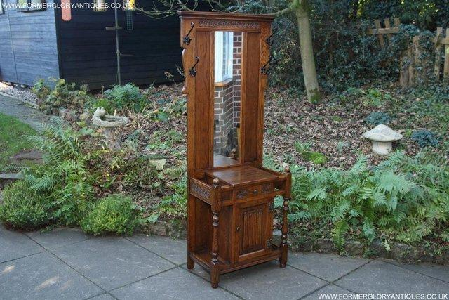 Image 4 of AN OLD CHARM JAYCEE LIGHT OAK HALL COAT STICK STAND CABINET