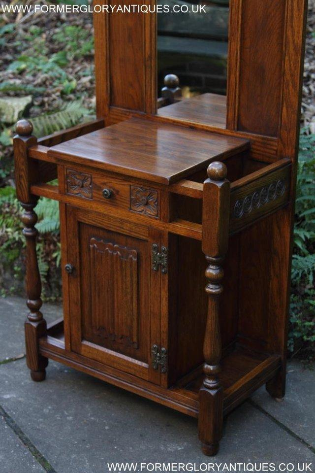 Image 6 of AN OLD CHARM JAYCEE LIGHT OAK HALL COAT STICK STAND CABINET