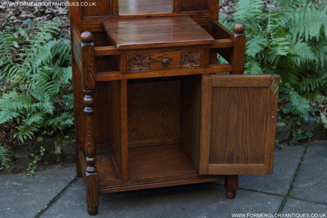 Image 9 of AN OLD CHARM JAYCEE LIGHT OAK HALL COAT STICK STAND CABINET