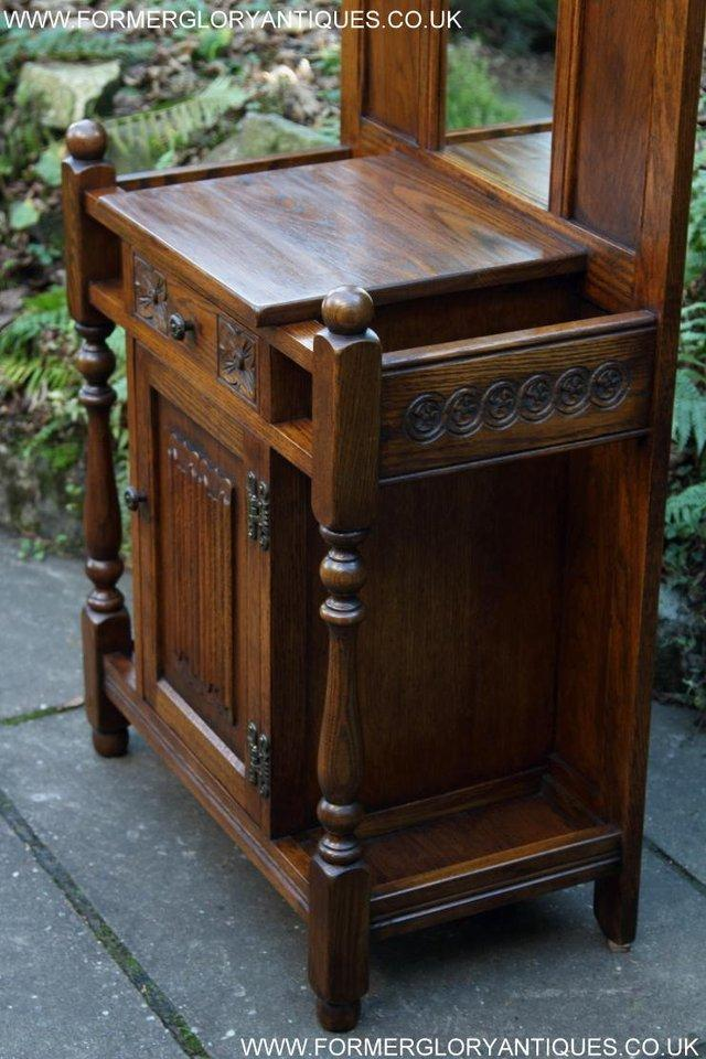 Image 11 of AN OLD CHARM JAYCEE LIGHT OAK HALL COAT STICK STAND CABINET