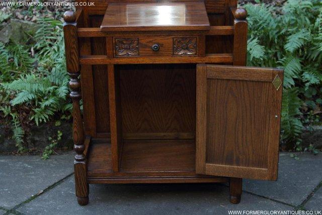 Image 16 of AN OLD CHARM JAYCEE LIGHT OAK HALL COAT STICK STAND CABINET