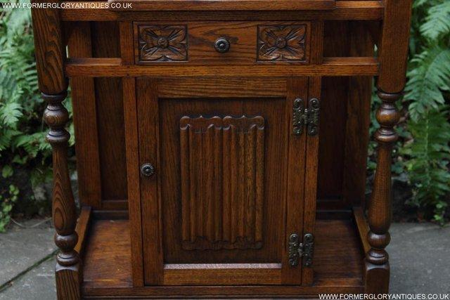 Image 17 of AN OLD CHARM JAYCEE LIGHT OAK HALL COAT STICK STAND CABINET