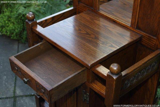 Image 18 of AN OLD CHARM JAYCEE LIGHT OAK HALL COAT STICK STAND CABINET