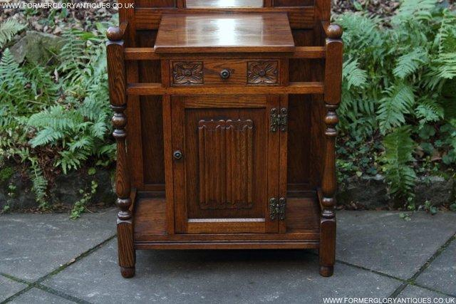 Image 19 of AN OLD CHARM JAYCEE LIGHT OAK HALL COAT STICK STAND CABINET