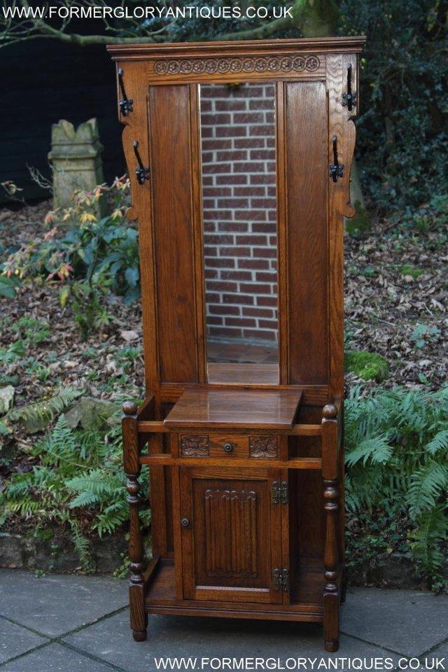 Image 21 of AN OLD CHARM JAYCEE LIGHT OAK HALL COAT STICK STAND CABINET