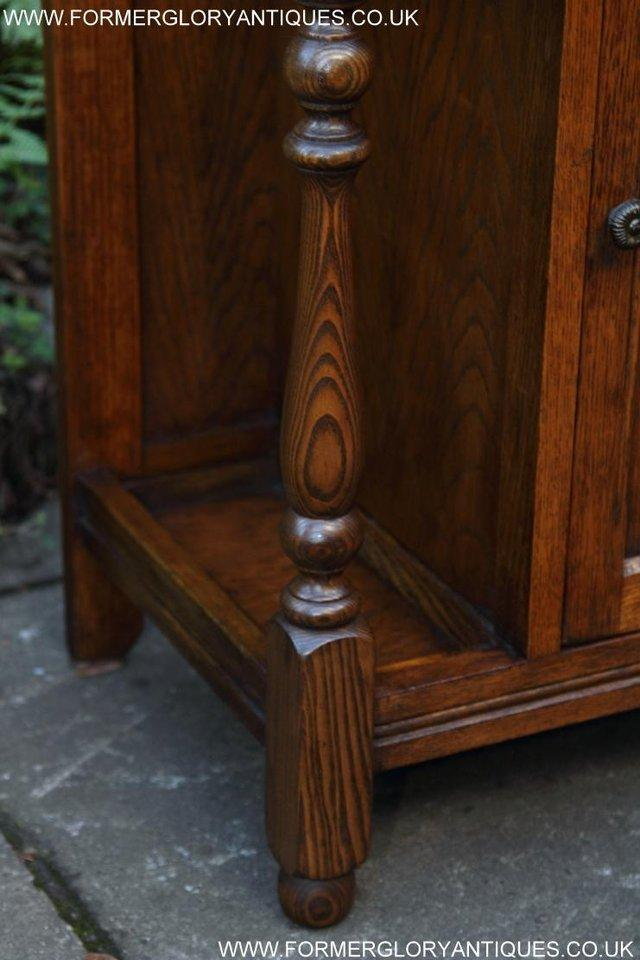 Image 24 of AN OLD CHARM JAYCEE LIGHT OAK HALL COAT STICK STAND CABINET