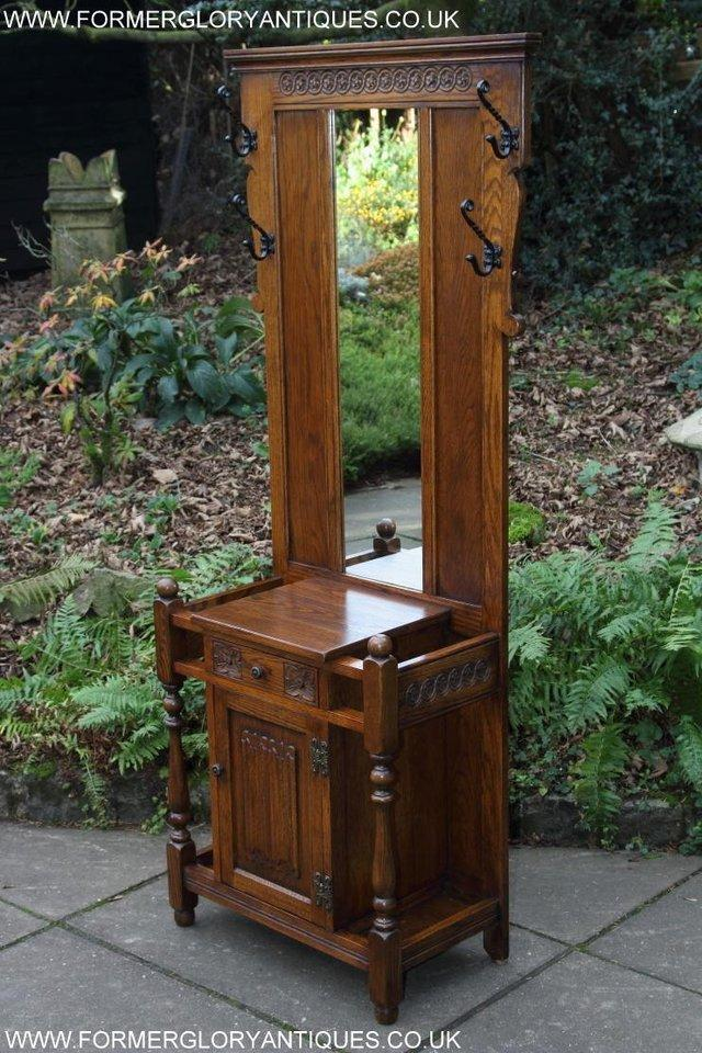 Image 25 of AN OLD CHARM JAYCEE LIGHT OAK HALL COAT STICK STAND CABINET