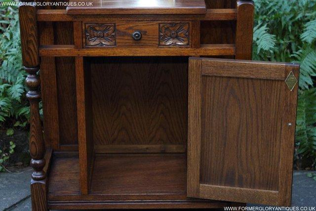 Image 27 of AN OLD CHARM JAYCEE LIGHT OAK HALL COAT STICK STAND CABINET
