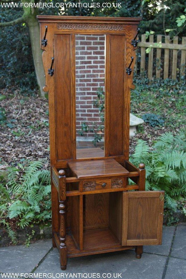 Image 29 of AN OLD CHARM JAYCEE LIGHT OAK HALL COAT STICK STAND CABINET